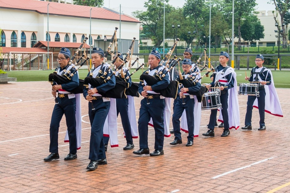 Bagpipe band in action during trooping the colours.jpg